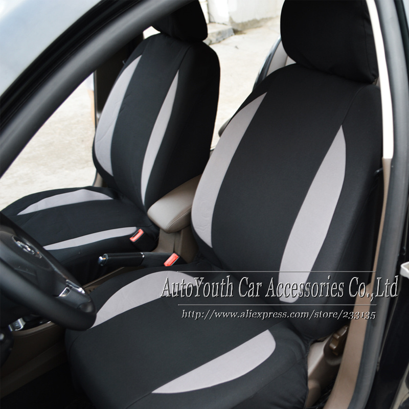Car Seat Cover 2 One Piece Style Front Covers Grey Fabric